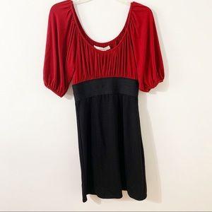 Studio M Color Block High Waist Peasant Top Dress